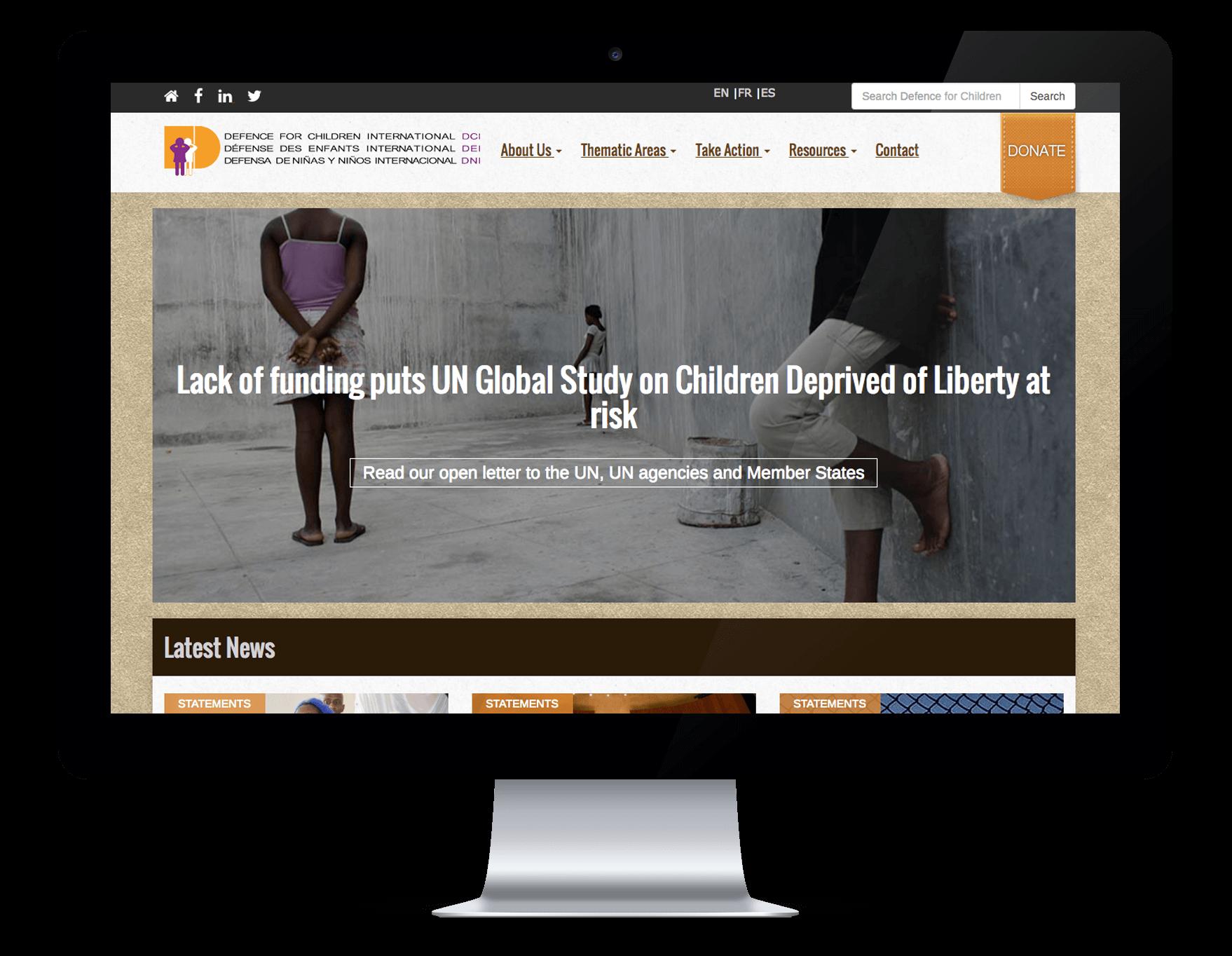 Capture du site internet Defence for Children