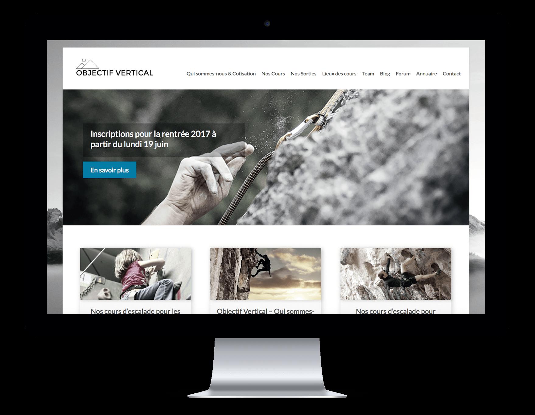Capture du site internet Objectif Vertical