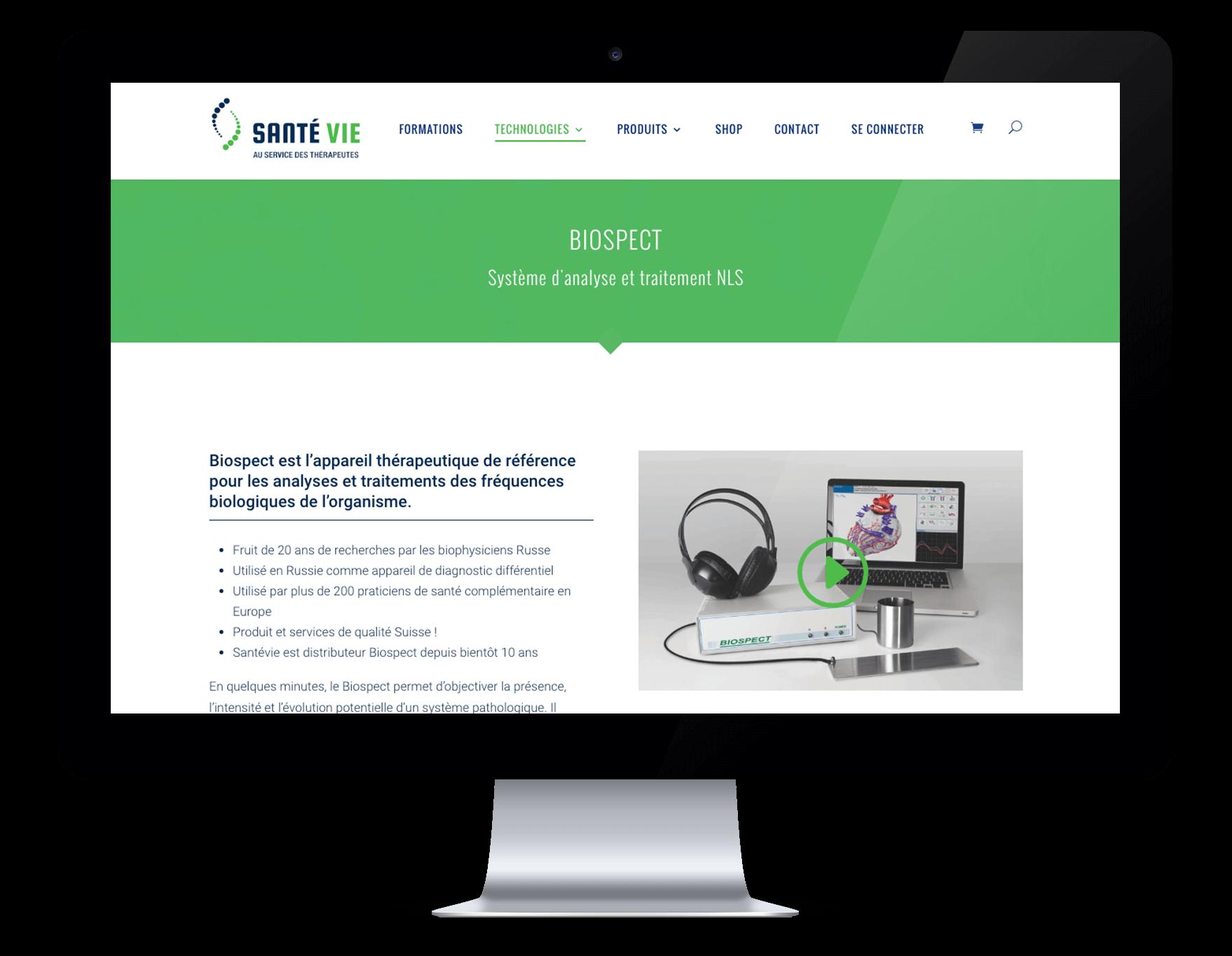 Capture du site internet Santé Vie